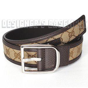 GUCCI 38-95 leather Original GG canvas Logo belt